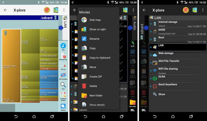 screenshot File Manager X-Plore