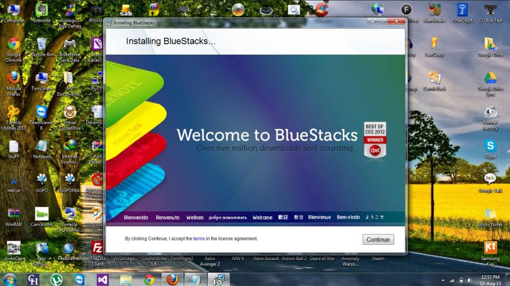Иконка Скачать Блюстакс для Windows 8 на компьютер