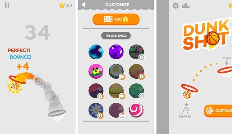 Иллюстрация на тему Dunk Shot скачать игру на Андроид бесплатно: все мячи