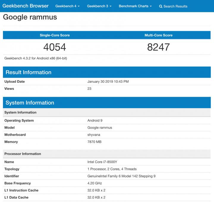 результаты теста GeekBench с новым устройством от google