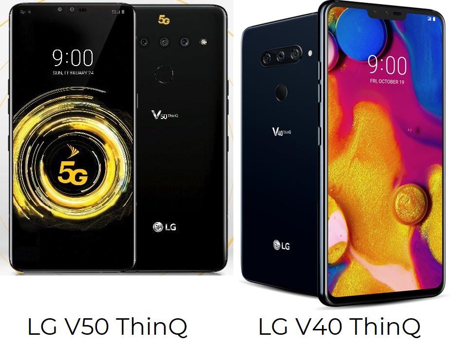 смартфона lg v50 thinq и lg v40 thinq
